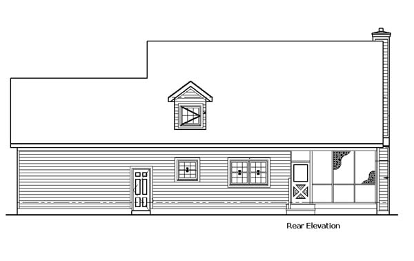 Country Rear Elevation of Plan 57335