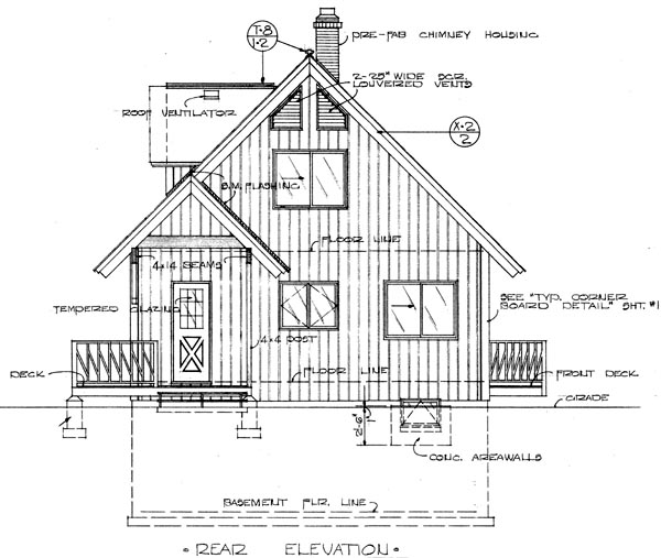 A-Frame Rear Elevation of Plan 57340
