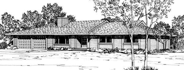 Ranch House Plan 57342 with 3 Beds, 2 Baths, 2 Car Garage Elevation