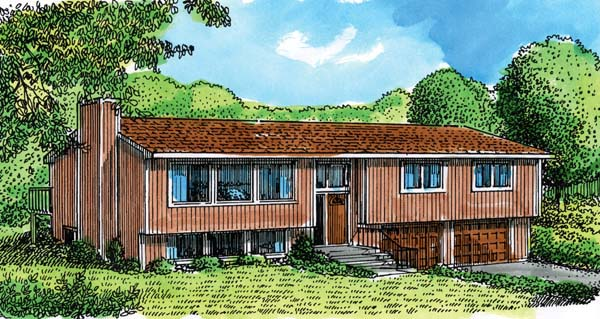 House Plan 57343 | Style Plan with 1838 Sq Ft, 3 Bedrooms, 2 Bathrooms, 2 Car Garage Elevation