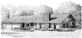 House Plan 57346   Ranch Style Plan with 1587 Sq Ft, 3 Bedrooms, 2 Bathrooms, 2 Car Garage Elevation
