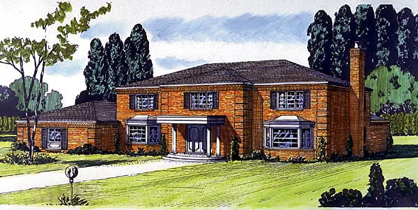 Colonial House Plan 57350 with 4 Beds, 3 Baths, 3 Car Garage Elevation