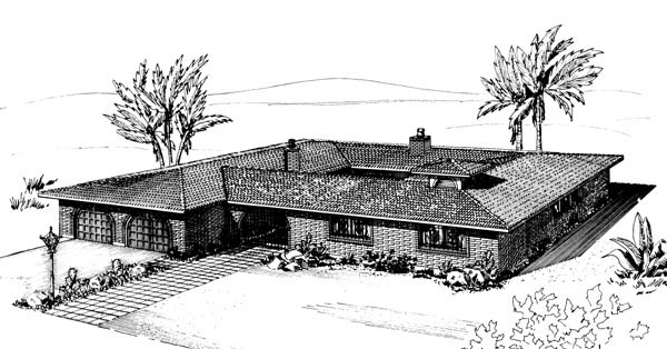 Prairie, Retro, Southwest House Plan 57353 with 3 Beds, 3 Baths, 2 Car Garage Elevation