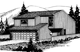 House Plan 57354 with 3 Beds, 3 Baths, 2 Car Garage Elevation