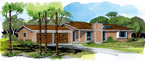 Ranch House Plan 57360 with 2 Beds, 1 Baths, 2 Car Garage Elevation