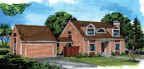 Cape Cod House Plan 57363 with 3 Beds, 2 Baths, 2 Car Garage Elevation