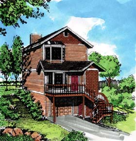 House Plan 57366 | Style House Plan with 1309 Sq Ft, 2 Bed, 2 Bath, 1 Car Garage Elevation