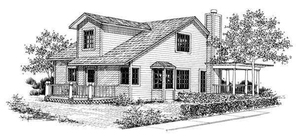 Bungalow House Plan 57367 Rear Elevation
