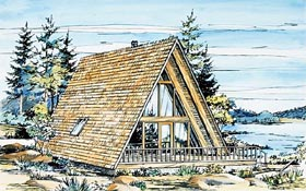 A-Frame House Plan 57368 with 1 Beds, 1 Baths Elevation