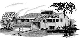 Contemporary House Plan 57381 with 4 Beds, 3 Baths, 2 Car Garage Elevation