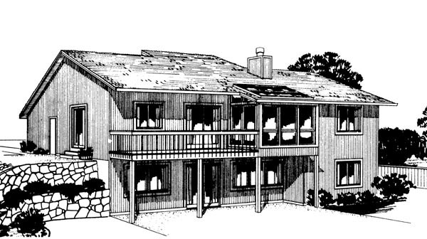 One-Story , Rear Elevation of Plan 57384