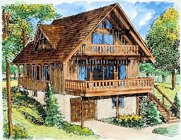 A-Frame House Plan 57391 Elevation