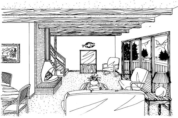 Cabin, Contemporary, Cottage, Narrow Lot House Plan 57391 with 3 Beds, 2 Baths, 1 Car Garage Picture 1