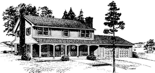 Colonial House Plan 57394 Elevation