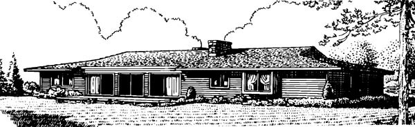 Ranch House Plan 57396 Rear Elevation