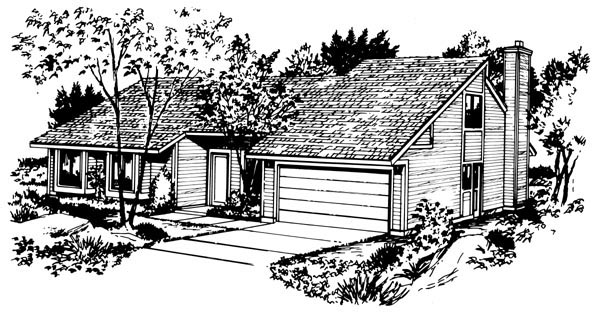 House Plan 57397, 2 Car Garage Elevation