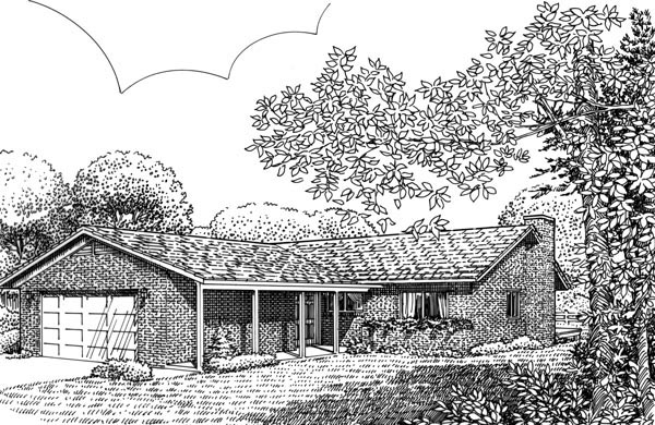 Ranch House Plan 57401 Elevation