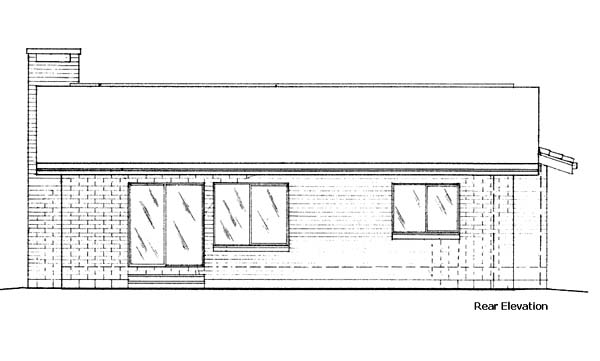 Ranch House Plan 57401 Rear Elevation