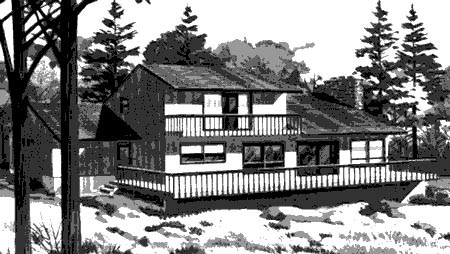Cabin , Elevation of Plan 57404