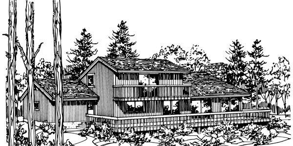 Cabin , Rear Elevation of Plan 57404