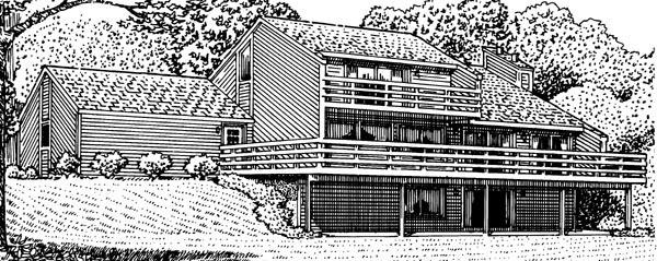 Cabin House Plan 57406 Rear Elevation