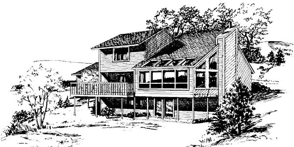 Cabin House Plan 57407 with 4 Beds, 3 Baths, 2 Car Garage Rear Elevation