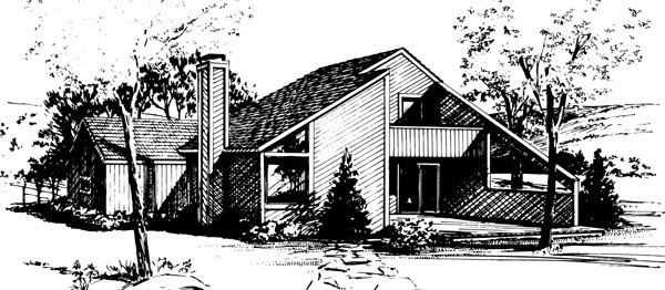 House Plan 57416 with 3 Beds, 2 Baths, 1 Car Garage Rear Elevation