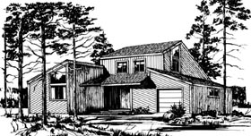 House Plan 57418   Style Plan with 1199 Sq Ft, 2 Bedrooms, 2 Bathrooms, 1 Car Garage Elevation