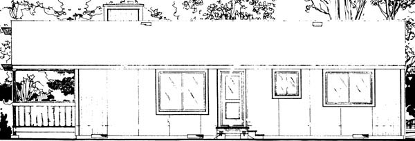 Ranch House Plan 57421 Rear Elevation