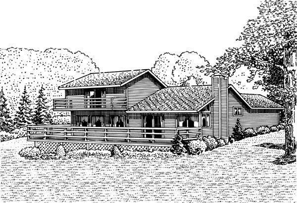 House Plan 57423 with 3 Beds, 2 Baths, 1 Car Garage Rear Elevation