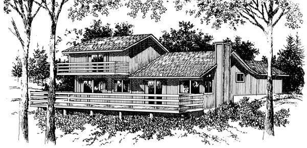 Cabin House Plan 57424 Rear Elevation