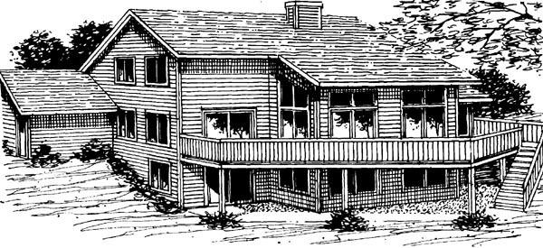 Contemporary Retro Traditional House Plan 57434 Rear Elevation