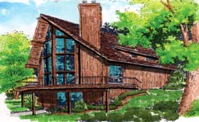 A-Frame , Cabin , Contemporary House Plan 57437 with 3 Beds, 2 Baths, 1 Car Garage Elevation