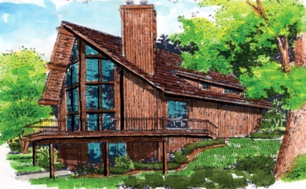 A-Frame Cabin Contemporary House Plan 57437 Elevation