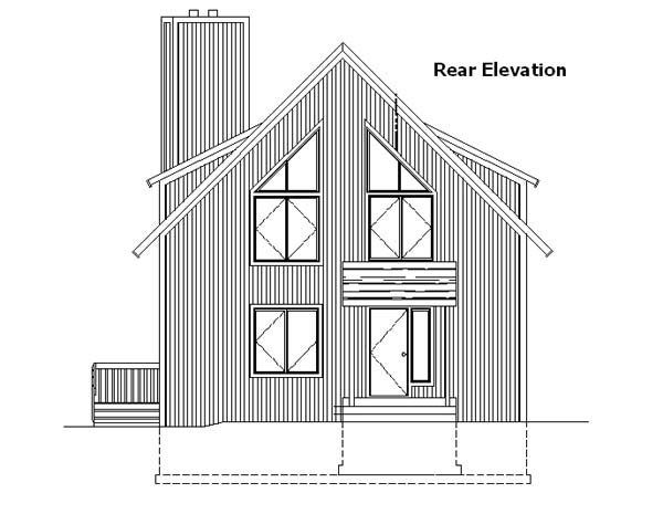 A-Frame Cabin Contemporary House Plan 57437 Rear Elevation