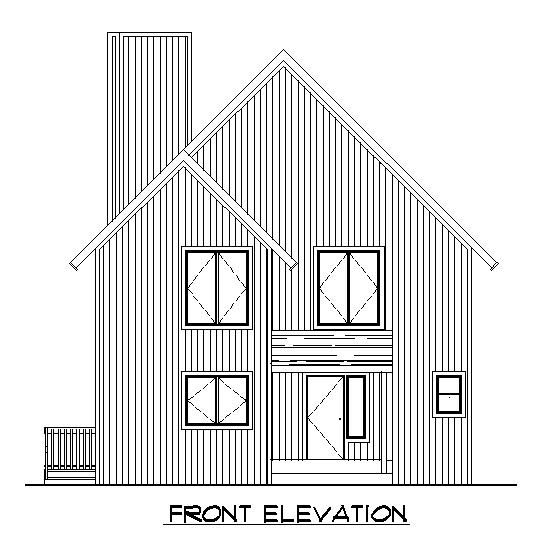 A-Frame House Plan 57438 Rear Elevation