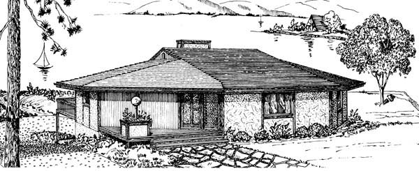 One-Story House Plan 57439 with 3 Beds, 2 Baths, 2 Car Garage Picture 1