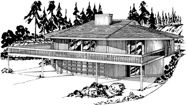 One-Story Rear Elevation of Plan 57442