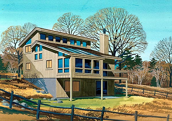 Cabin Contemporary Narrow Lot Retro Elevation of Plan 57446
