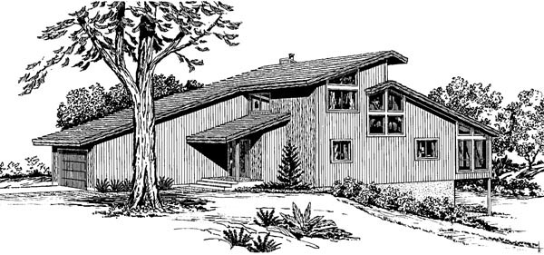 Cabin Contemporary Narrow Lot Retro Rear Elevation of Plan 57446