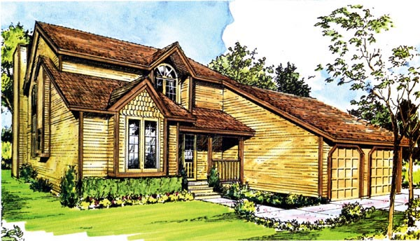 House Plan 57448 | Contemporary Style Plan with 1678 Sq Ft, 3 Bedrooms, 3 Bathrooms, 2 Car Garage Elevation