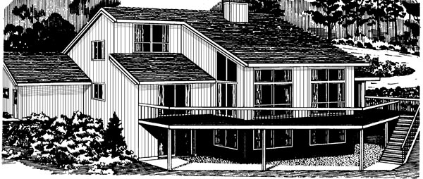 Country , Rear Elevation of Plan 57452