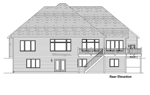 European House Plan 57459 Rear Elevation