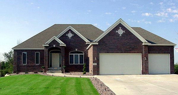European House Plan 57460 with 1 Beds, 2 Baths, 3 Car Garage Elevation