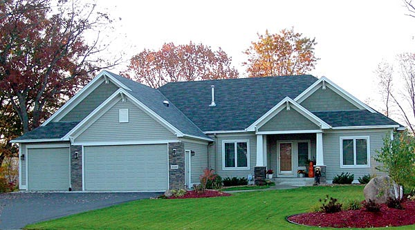 House Plan 57462 | Bungalow Craftsman Style Plan with 1786 Sq Ft, 1 Bedrooms, 2 Bathrooms, 3 Car Garage Elevation