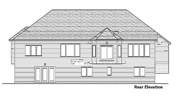 House Plan 57462 | Bungalow Craftsman Style Plan with 1786 Sq Ft, 1 Bedrooms, 2 Bathrooms, 3 Car Garage Rear Elevation