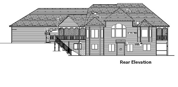 European, One-Story House Plan 57465 with 1 Beds, 2 Baths, 3 Car Garage Rear Elevation