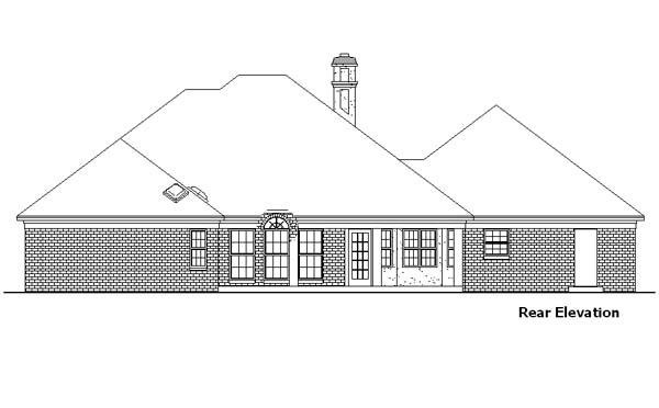 European House Plan 57466 Rear Elevation