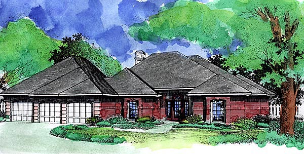 European House Plan 57472 Elevation