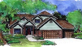 House Plan 57473 with 3 Beds, 3 Baths, 3 Car Garage Elevation